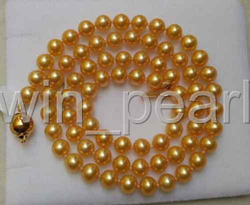 ELEGANT-9-10MMAAA-SOUTH-SEA-ROUND-GOLD-PEARL-NECKLACE-20INCH