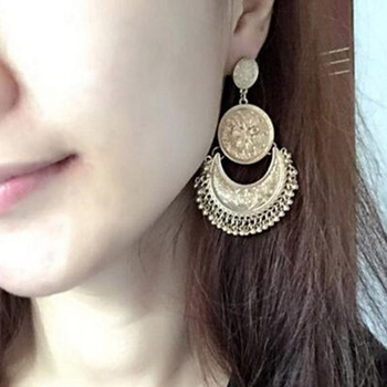 2017 Beaded Tassel Earrings For Women Fashion Ethnic Antique Gold color Vintage Flower Carved Multilayer Long Earring