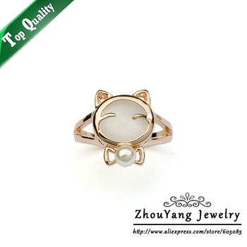 Top Quality ZYR143 Cat's Eye Stone Imitation Pearl Cute Cat Ring Rose Gold Color Austrian Crystals Full Sizes Wholesale