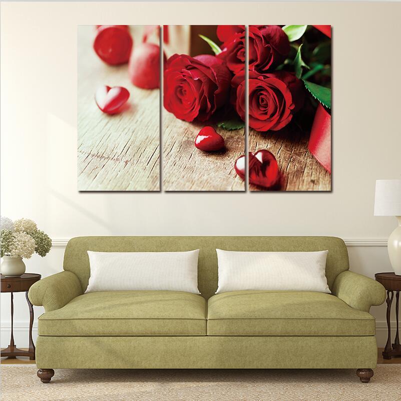 Kırmızı Gül çiçek Modern 3 Parça üzerinde Duvar Modüler Boyama Sanatı Güzel Tuval Baskılar Resimleri Ev Dekorasyon