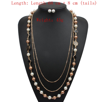 Pearl Jewelry Sets Petals decoration Simulation Necklace Earring two-piece set Gold Color Three layer necklace