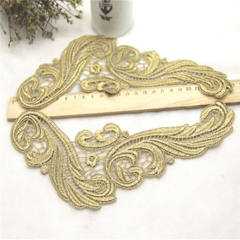 1Pair 24x10cm Gold Lace Applique Headwear Flower Lady Motif Venise Lace Trim Wedding Dress Garment Accessories