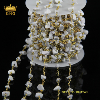 Wholesale Silver Plated Wire Wrapped Tur quoise Nugget Chips Stone Beads Link Rosary Chains DIY Necklace Jewelry JD075