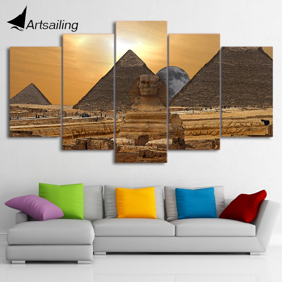 Satin Almak Hd Baskili 5 Parca Tuval Sanat Misir Piramit Boyama
