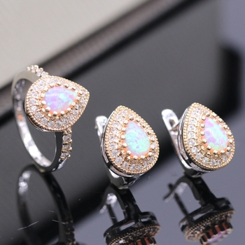 GZJY Noblest Jewelry Set WaterDrop Multicolor Fire Opal Zirconia Gold Color Ring Earrings Set For Women Wedding Party 3colors