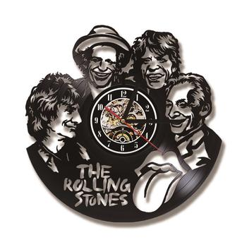 The Rolling Stone Band CD Record Clock Creative Antique Wall Clock Wall Art Decor Hanging Clock Gift for Rolling Stone Fans