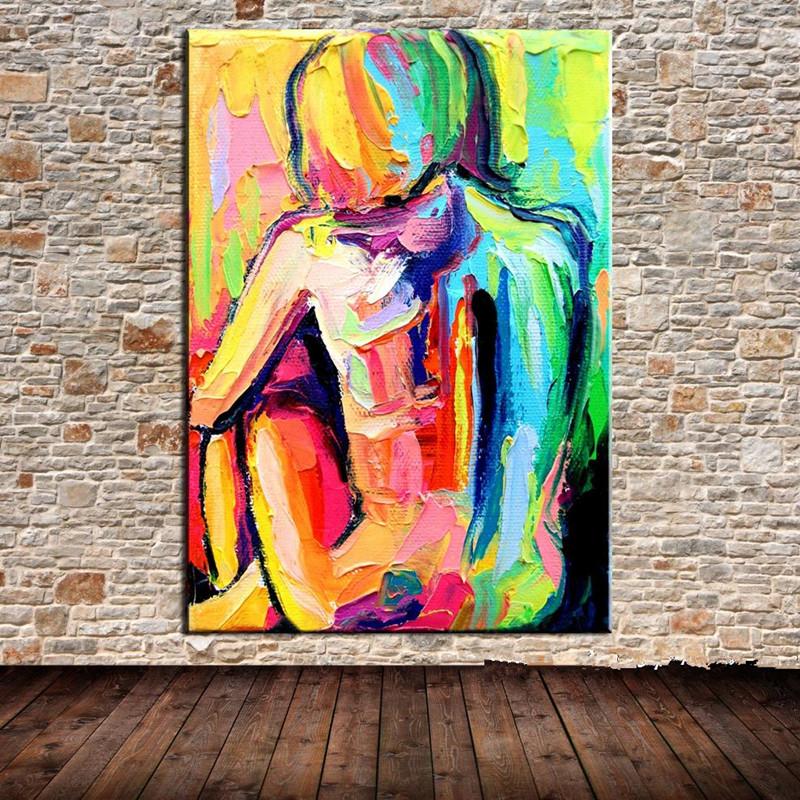 çıplak Kadın Tuval Yağ Sanat Boyama El Boyalı çıplak Kız Poster Akrilik Sergisi Renkli Ev Dekorasyonu Duvar Resmi El Yapımı