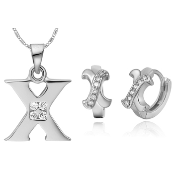 Special Design Zircon White Gold Cover Women Holiday Luxury Gift 26 Letters X Style Necklace And Earrings Jewelry Sets T370