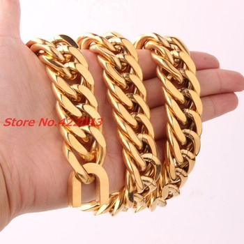 Fashion 18/21mm heavy Men's Chain 316L Stainless Steel Gold Color Curb Cuban Chain Necklace Bracelet Gift Jewelry 7-40""