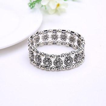 Ethnic Bohemian Elastic Carved Crystal Bangle Gypsy Tribal Chic Alloy Coin Bracelet Jewelry KQS8