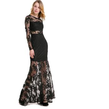Vestidos seksi net iplik perspektif hollow o yaka uzun kollu nakış the dress see through gelin ziyafet resmi dress boyutu